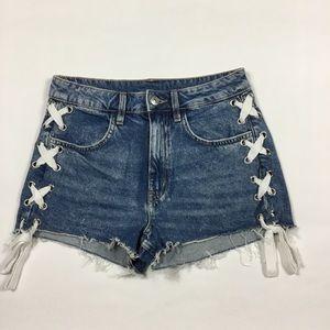 H&M Side Tie Jean Shorts Womens Size 6